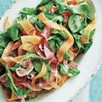 Perfect Pairings- Summer Arugula and Melon Salad with Crispy Prosciutto and Goat Cheese